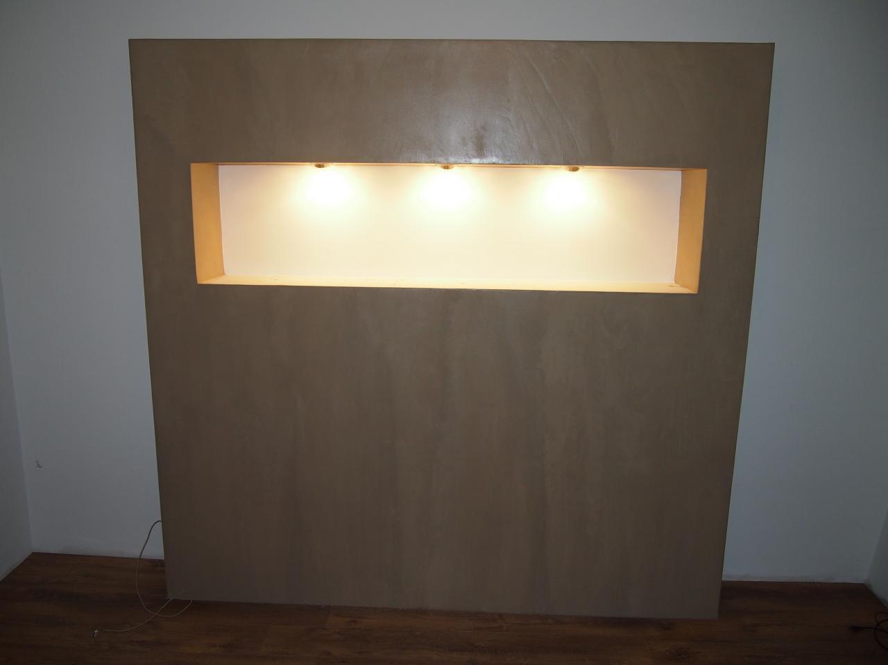 Placo Tete De Lit béton ciré murs de cuisine, salon et tête de lit